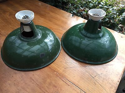 Two British factory enamel lights, cleaned up and re-wired, ready to install
