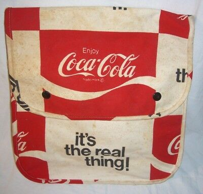 "vintage Coca-Cola Coke backpack bag carry sack 12x12x5.5"" guc bookbag adj straps"
