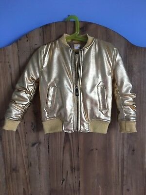 rock your kid gold bomber jacket sz4