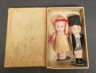 Antique Kewpie Celluloid Bride Groom Cake Toppers Dolls Miniature JAPAN Jointed