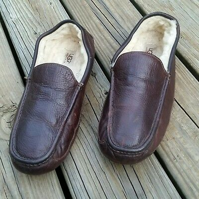 Mens Ugg Australia Ascot Brown Leather Slip On Driving Slippers Size 11