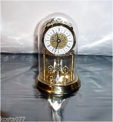 "Vintage Ergo, 7"" Quartz 85 West Germany Glass Dome Pendulum Clock"
