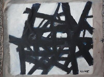 Vintage Abstract  Painting Signed Franz Kline,  Modern Old 20th Century Art