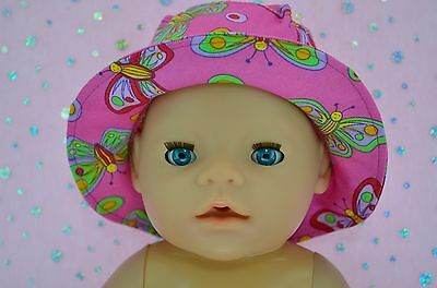 """Play n Wear Doll Clothes To Fit 17"""" Baby Born PINK/BUTTERFLY DRILL SUN HAT"""