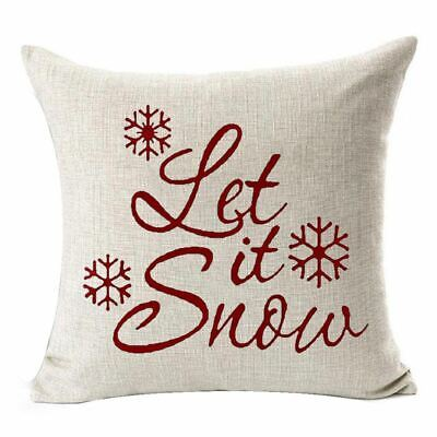 """Snowflakes Merry Christmas Gift flax Throw Pillow Case Cushion Cover 18X18"""" F1D4"""