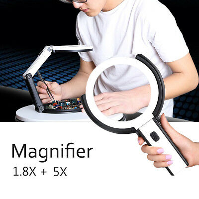 1.8x 5x Foldable Magnifying Glass With LED Light Handheld Stand Table Magnifier