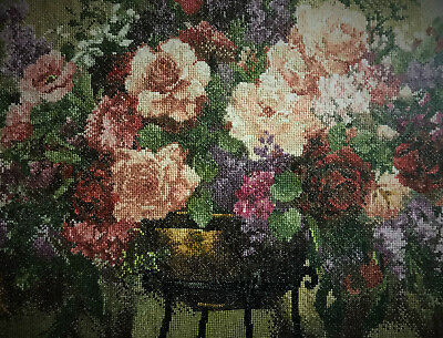Completed Cross stich - Vase of Roses 52*132 cm