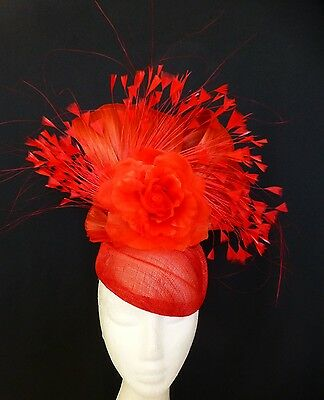 Red Flower Feathers Silk Bows Loops Hat Fascinator Races Wedding