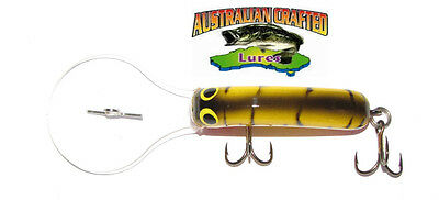 Australian Crafted Lures- 50mm slim invader yellow tiger ;20T, 30ft a.c.lures