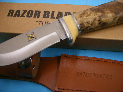 Razor Blades Red Stag Timber Handle Burl Wood Deer Hunting Skinning Knife 2Nd