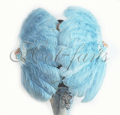 A pair sky blue Single layer Ostrich Feather fan with Travel leather Bag