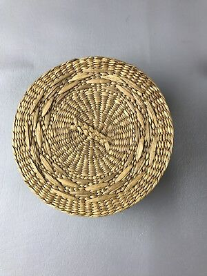 Vintage tightly weaved Sweet Grass Basket round with lid