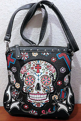 Skull Crossbody Handbag Black Sugar Skull Bag Sexy! Nwt Cowgirl Trendy