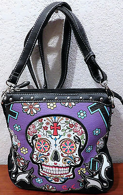 Skull Crossbody Handbag Purple Sugar Skull Bag Sexy! Nwt Cowgirl Trendy