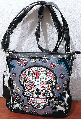 Skull Crossbody Handbag Silver/gray Sugar Skull Bag Sexy! Nwt Cowgirl Trendy