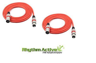 2 x 10FT 3M 3-PIN XLR  SHIELDED MICROPHONE/MIC CABLE / SPEAKER AUDIO CABLE - RED