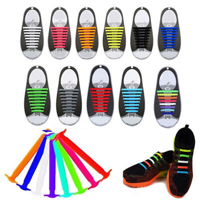 16pcs/Set Easy No Tie Shoelaces Elastic Silicone Flat Shoe Lace for Kids Adult