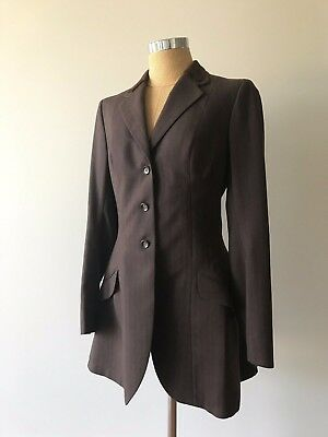 VTG LOUIS EPSTEIN Brown Velvet Pinstripe Equestrian Show Jacket 36 Tall Youth