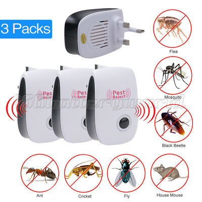 3 x Ultrasonic Plug In Pest Repeller & Night Light Mouse Mice Rat Spider Insects