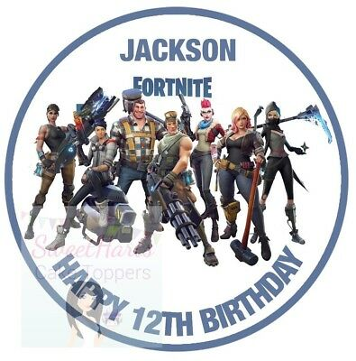 Fortnite Battle Royale Cake Topper Round Edible Icing Personalised Game Deco