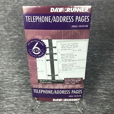 Day Runner Planner Telephone Address Pages 6 Ring Refill 3.75 x 6.75  013-230