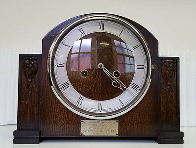 Vintage Smiths Enfield 8 Day Mantle Clock with Strike BR LMS Railway Interest