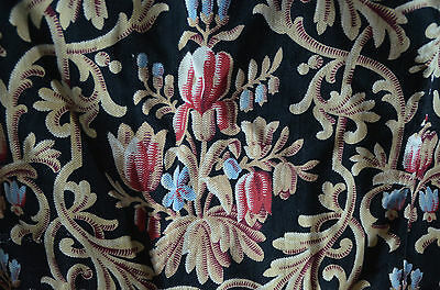 Antique French fabric, floral garlands, pure thick cotton
