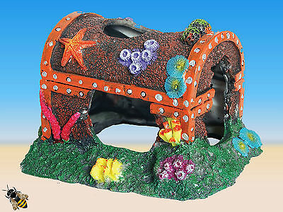 Aquarium Ornament Treasure Chest Coral Reef Sunken Fish Tank Decoration New