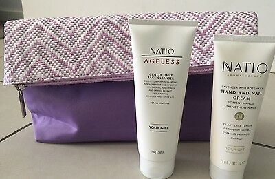 Brand new Natio Hand and nail cream  75ml & Face Cleanser 10g &  cosmetic bag