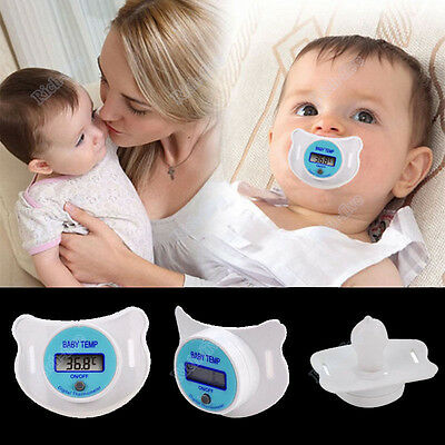 Safe Practical Mouth Nipple Temperature Baby LCD Digita Pacifier Thermometer EN