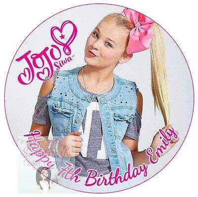 Jojo Siwa Cake Topper Personalised Edible Icing Round Birthday Cake