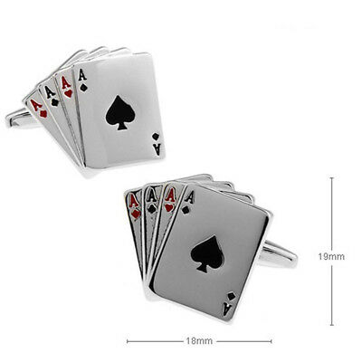 Beauty Stainless Steel Men Silver Rectangle Cufflinks Poker Ace Wedding Gift