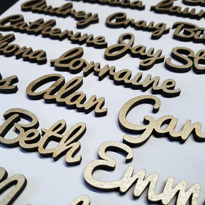 GOLD 25mm TALL 4mm THICK Wooden Wedding Place Name Place Setting Table LASER CUT