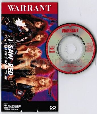 "WARRANT I Saw Red /Sure Feels JAPAN 3"" CD SINGLE CSDS8171 UNSNAPPED Free S&H"