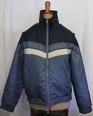 VINTAGE 1970'S SPICER OF MELBOURNE ~ Two Tone Blue Parka w Zip Off Sleeves 16
