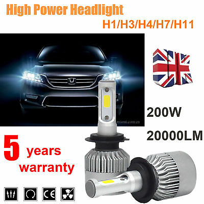 H1/H4/H7/H11 200W 20000LM LED Headlight Conversion Kit Car High&Low Beam Bulbs