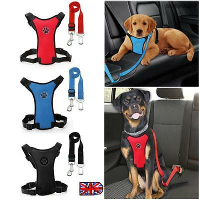 Air Mesh Puppy Pet Dog Car Harness and Seatbelt Clip Lead Safety for Dogs UK New
