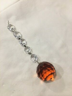 VINTAGE 1950s CHANDELIER AMBER CRYSTAL BALL W. GARLAND #3