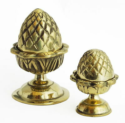 Pair Solid Brass Pinecone Finials Curtain Pole Ends Antique Pineapple 7cm / 10cm