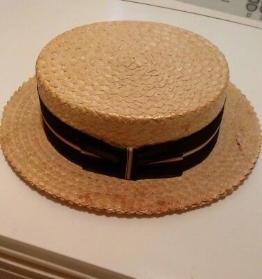 Vintage Straw Boater Hat by Champ
