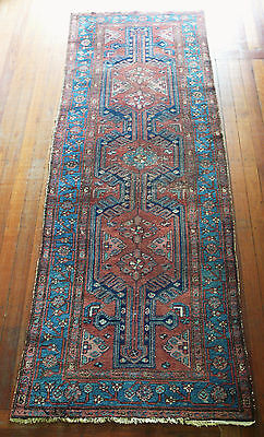 Antique Hand Knotted Hamadan Wool Runner Pile Rug Circa 1920