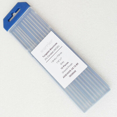 "10pcs Ground Finish Ceriated TIG Weld Tungsten Electrode WC20 1.6*175mm 1/16""x7"""