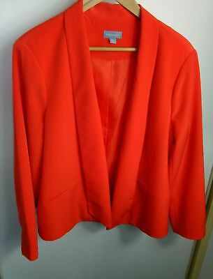 Womens Jacket Size XL 16 Orange Blazer Fitted Career Work Office