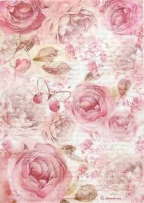 Rice Paper for Decoupage Scrapbook Craft Sheet - Pink Roses