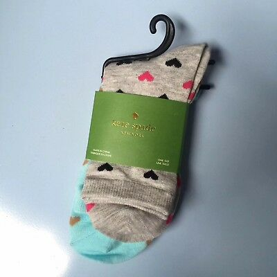 Kate Spade Set Of 2 Pairs Lovely Heart ❤️ Socks In Blue & Grey One Size