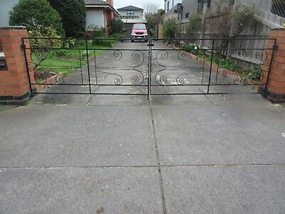 DRIVEWAY GATES - PERIOD WROUGHT IRON , PAINTED BLACK ,CENTRE OPEN  ,1c