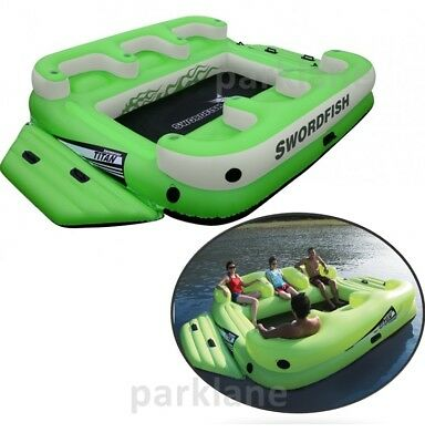 Floating Island 6 Person Pool Beach Float 8 Cup Holder Back Rest Lounge 4.1x2.9m
