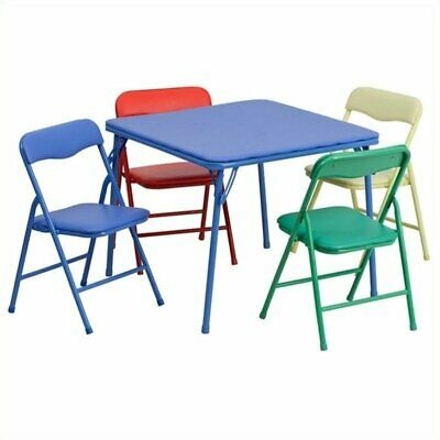 Pemberly Row Kids Colorful 5 Piece Folding Table and Chair Set