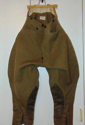 Vintage button fly breeches dated 1939 WWII re-enactment dispatch rider waist 34