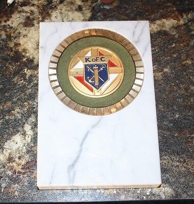"Vintage Knights of Columbus Fine Marble Plaque  4"" x 6"""